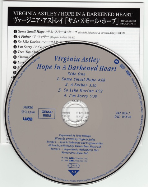 Virginia Astley Hope In A Darkened Heart David Sylvian
