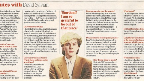 5 minutes with David Sylvian (The Times, March 2012)