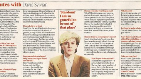 5 minutes with David Sylvian (Times March 3rd, 2012)