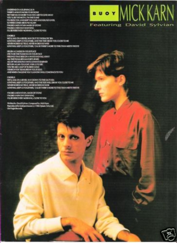 ad for Buoy single with Mick Karn and David Sylvian