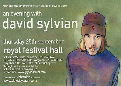 Postcard by Metropolis Music, for promoting the concert of David at the Royal Festival Hall at 25th September 2003 (Fire In The Forest tour)