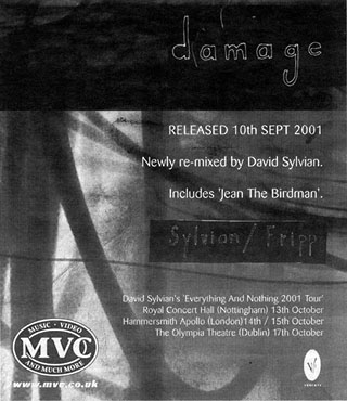 Damage advert The Times 14.09.2001