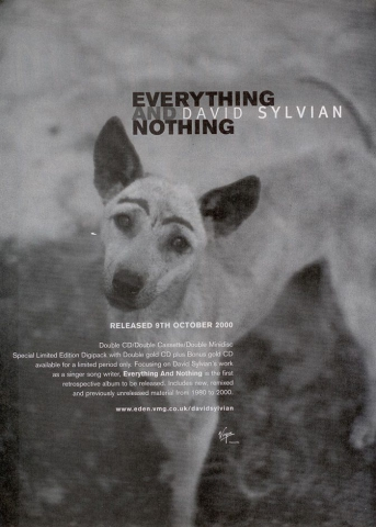 Full page, bw ad for Everything and Nothing in Record Collector, October 2000