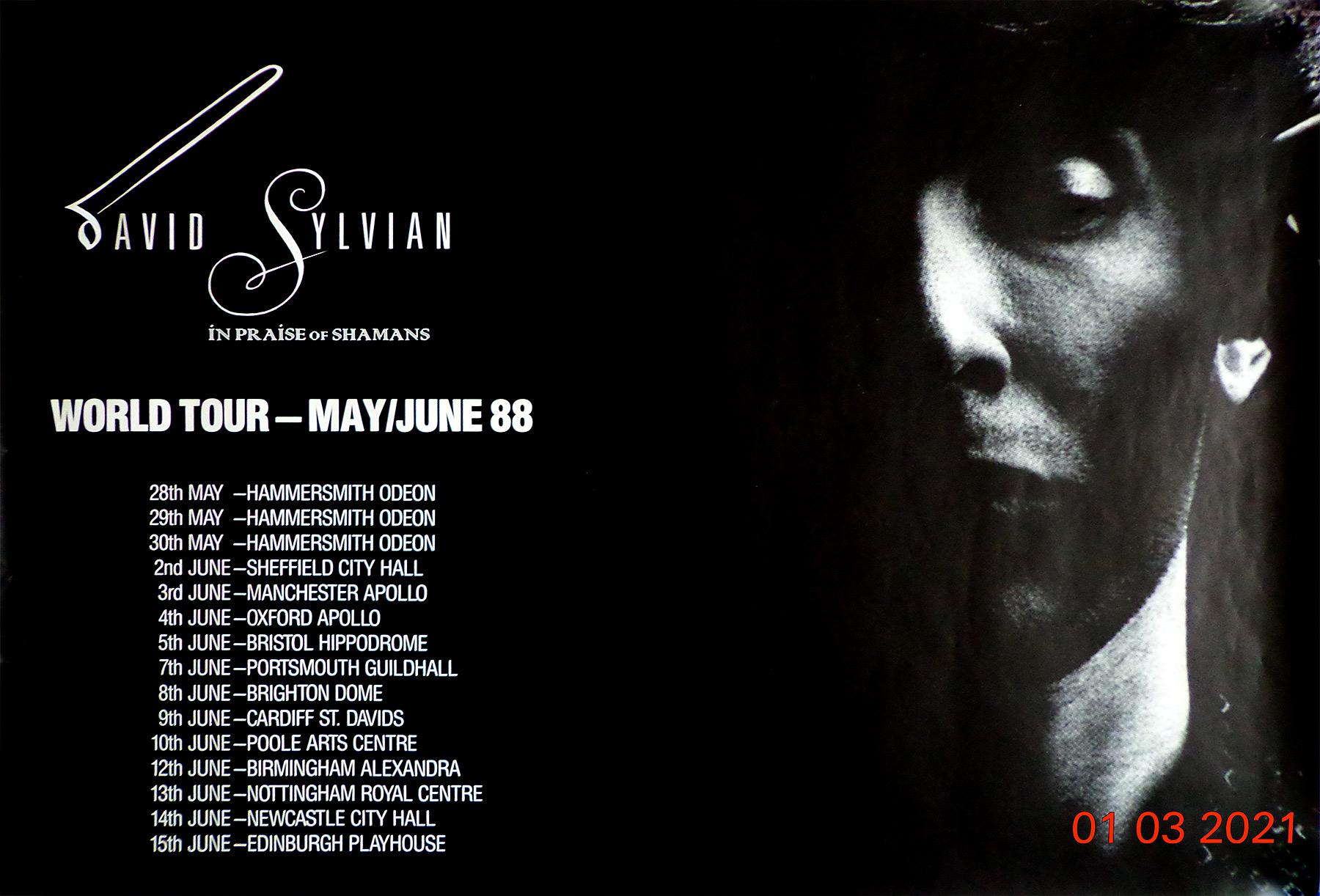 Big David Sylvian 1988 tour poster. Thanks to Cedric Laudet