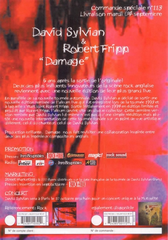 Advert flyer for the re-issue of Damage (France)
