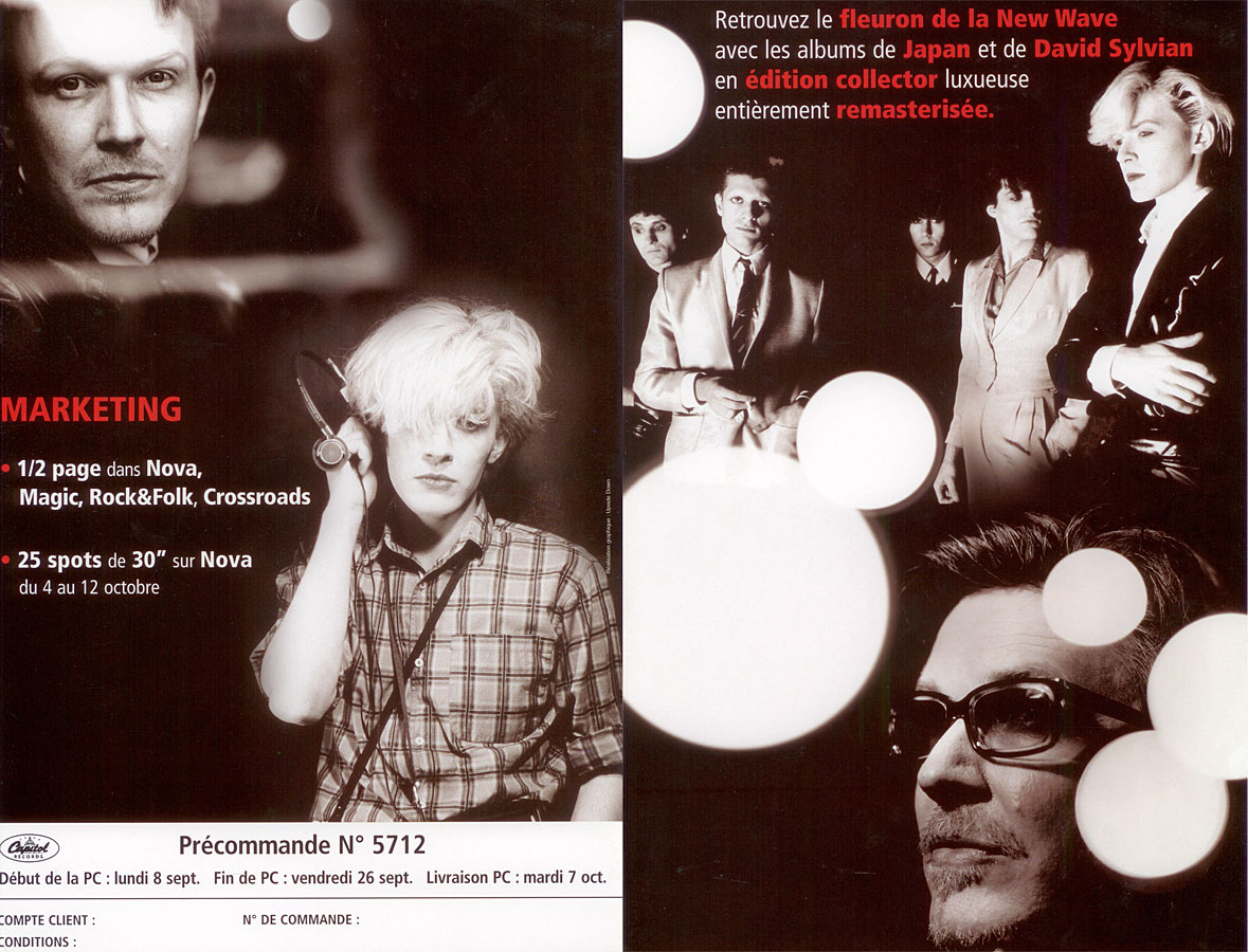 4 page folded flyer advert for the Japan - Sylvian re-issues in 2003 (France) These are the outer two pages (1 and 4)