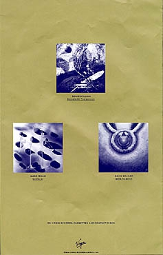 In praise Of Shaman flyers with adverts for the releases of Mark Isham and David Sylvian.