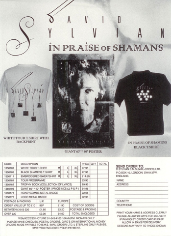 This flyer was included in the In Praise Of Shamans tour book and offers merchandise as the Trophies book, t-shirts and posters.