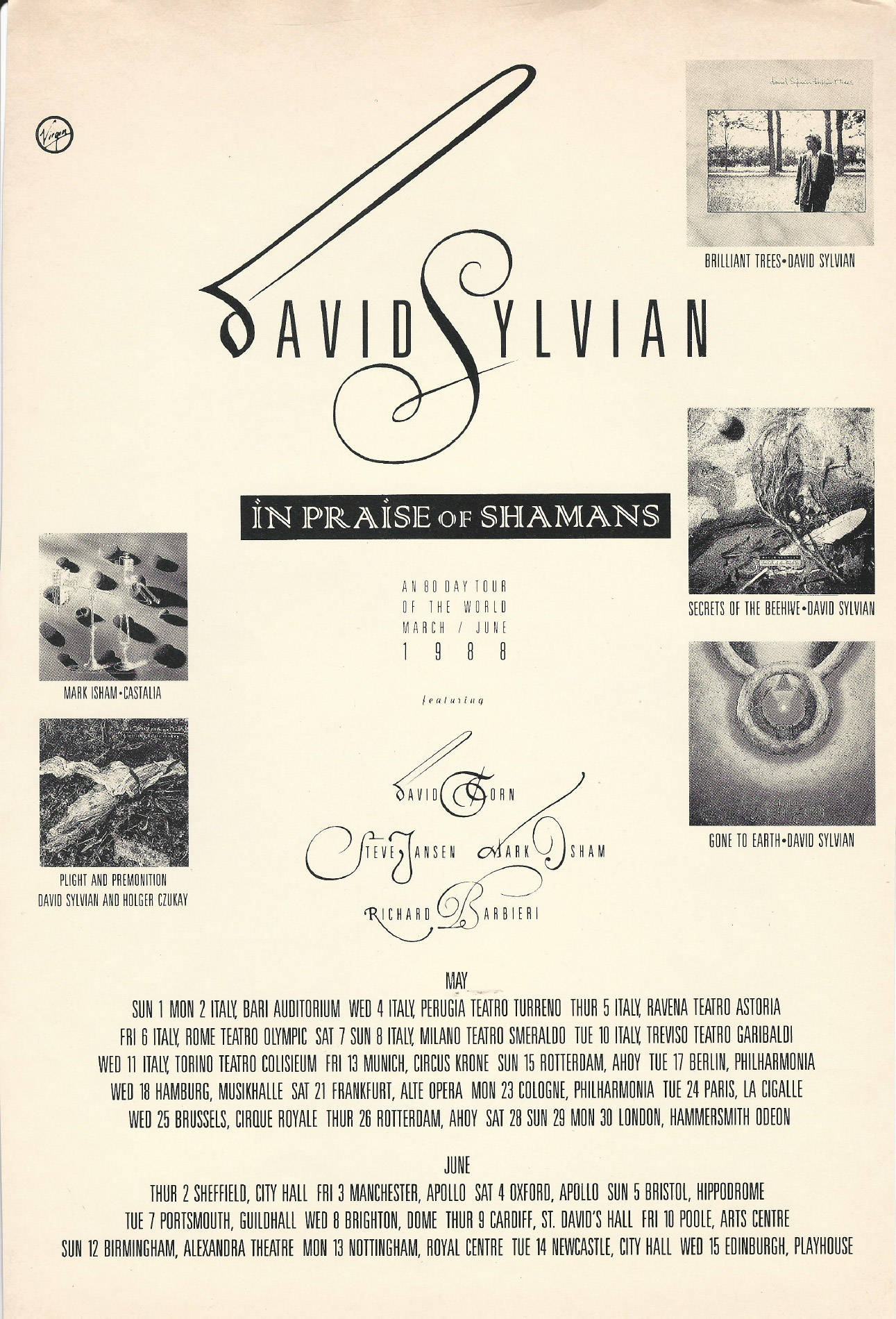 ad for the In Praise Of Shamans tour 1988 (The Face) Thanks to Simon Netzle