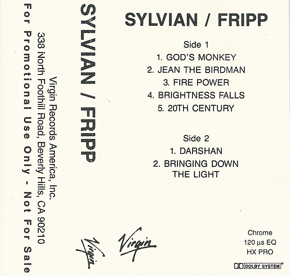 The First Day US cassette promo